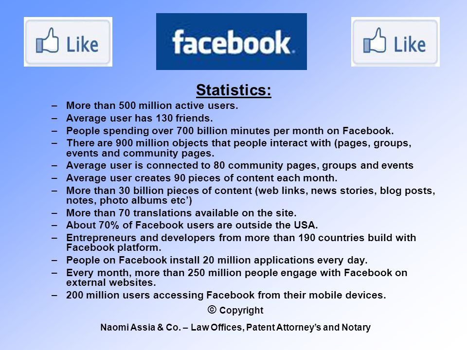 Statistics: –More than 500 million active users.–Average user has 130 friends.