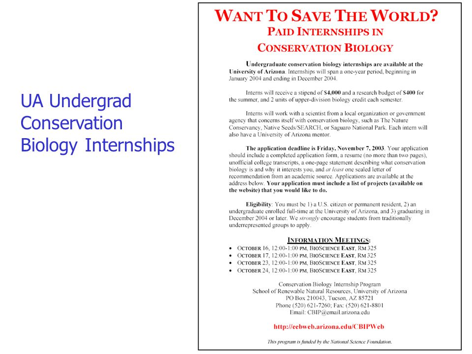 UA Undergrad Conservation Biology Internships