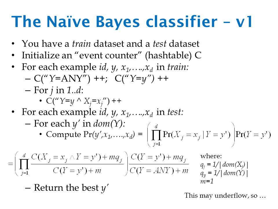 The Naïve Bayes classifier – v1 You have a train dataset and a test dataset Initialize an event counter (hashtable) C For each example id, y, x 1,….,x d in train: – C( Y =ANY ) ++; C( Y=y ) ++ – For j in 1..d : C( Y=y ^ X j =x j ) ++ For each example id, y, x 1,….,x d in test: – For each y' in dom(Y): Compute Pr (y',x 1,….,x d ) = – Return the best y' where: q j = 1/|dom(X j )| q y = 1/|dom(Y)| m=1 This may underflow, so …