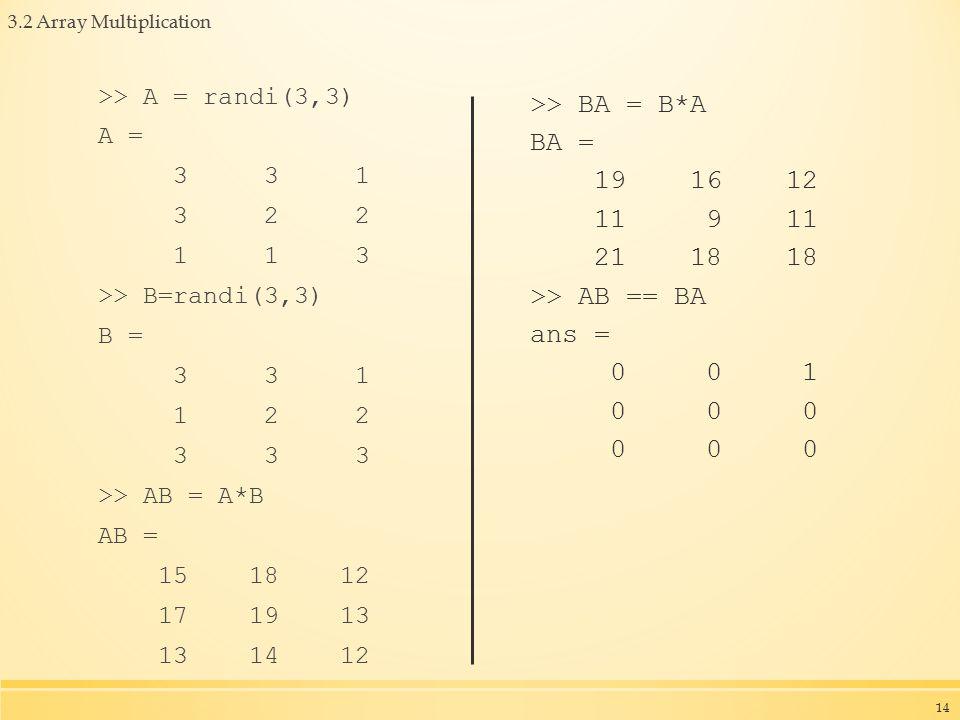 3.2 Array Multiplication >> A = randi(3,3) A = 3 3 1 3 2 2 1 1 3 >> B=randi(3,3) B = 3 3 1 1 2 2 3 3 3 >> AB = A*B AB = 15 18 12 17 19 13 13 14 12 >> BA = B*A BA = 19 16 12 11 9 11 21 18 18 >> AB == BA ans = 0 0 1 0 0 0 14