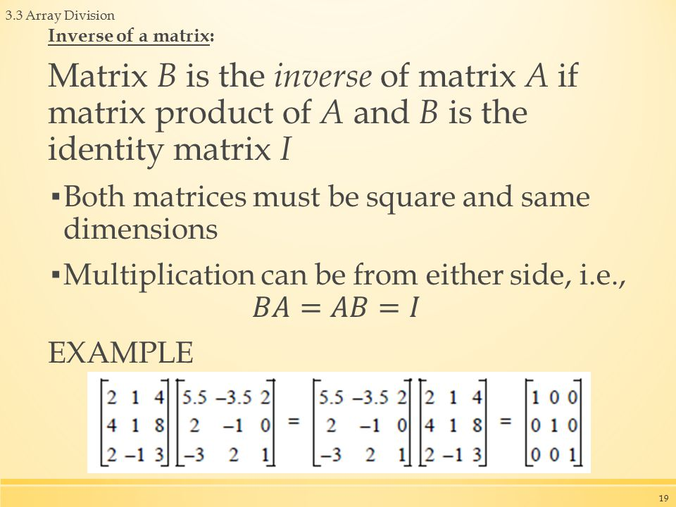 3.3 Array Division 19