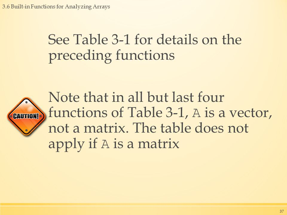 3.6 Built-in Functions for Analyzing Arrays See Table 3-1 for details on the preceding functions Note that in all but last four functions of Table 3-1, A is a vector, not a matrix.