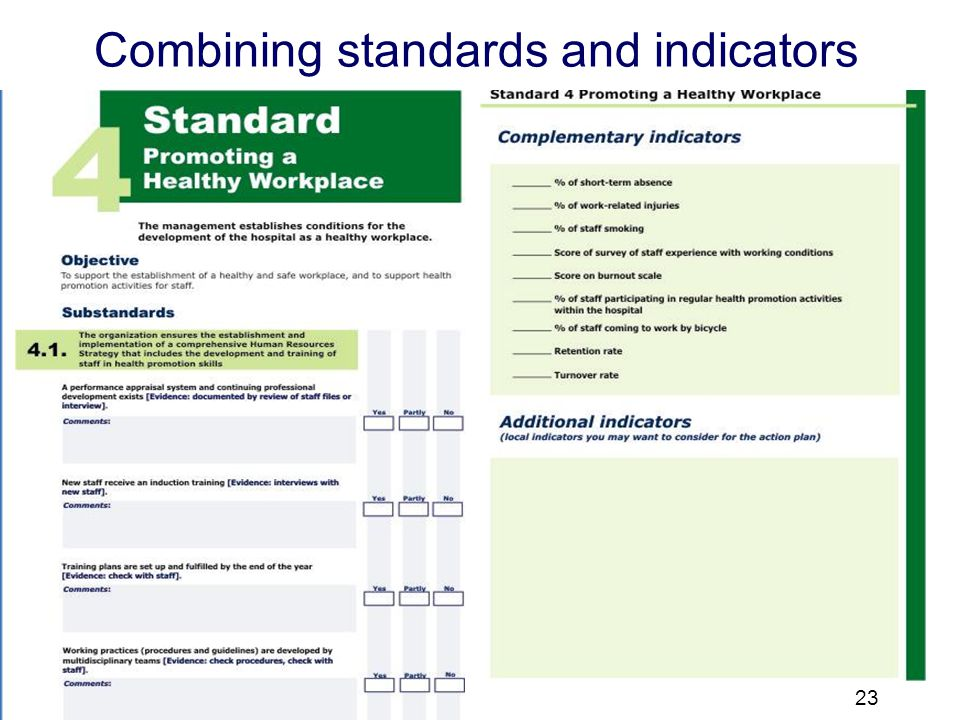 23 Combining standards & indicators Combining standards and indicators