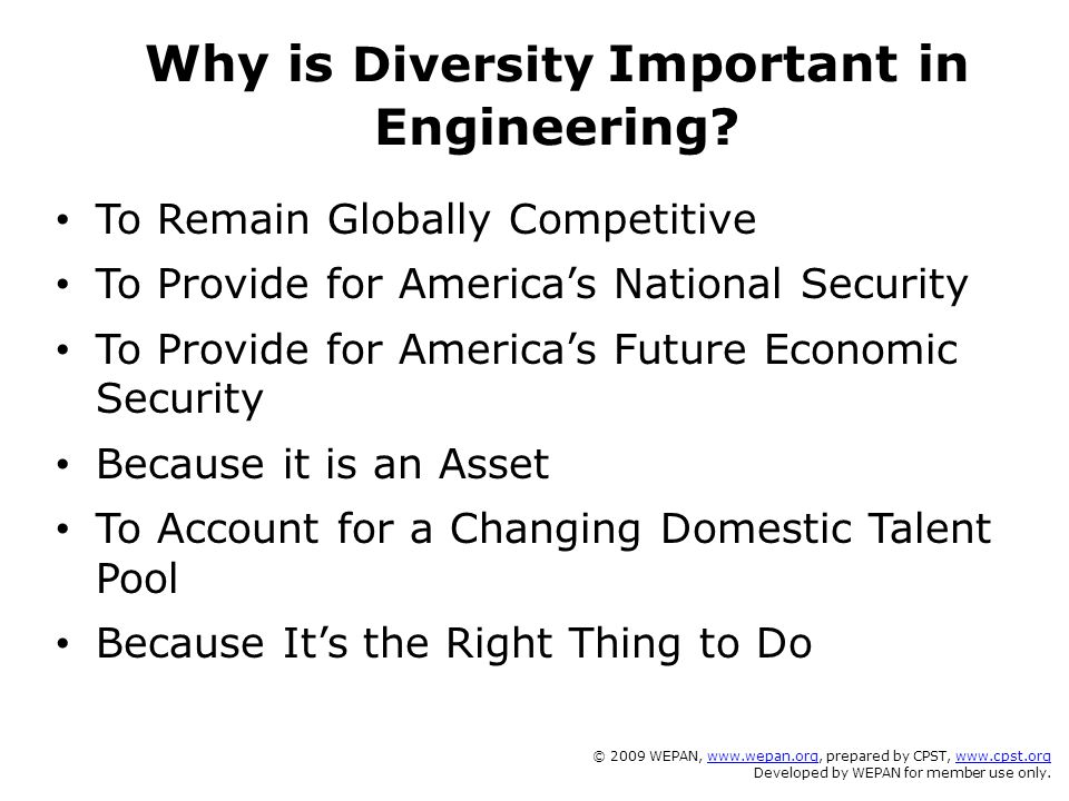 Why is Diversity Important in Engineering? To Remain Globally Competitive To Provide for America's National Security To Provide for America's Future E