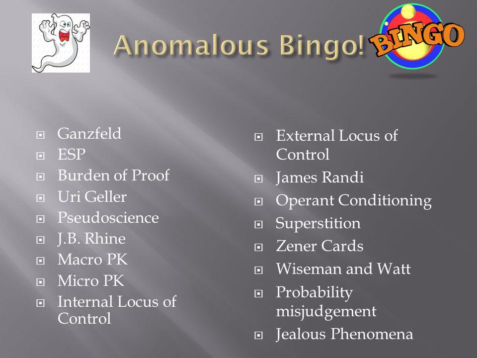 Ganzfeld  ESP  Burden of Proof  Uri Geller  Pseudoscience  J.B.