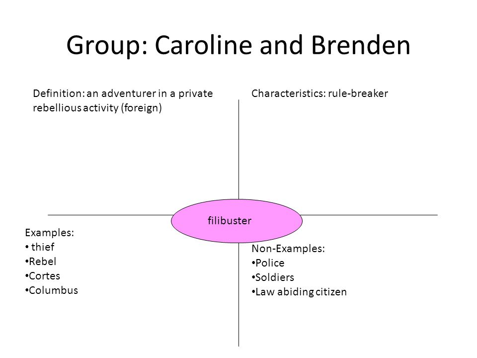 Group: Caroline and Brenden Definition: an adventurer in a private rebellious activity (foreign) Characteristics: rule-breaker Examples: thief Rebel Cortes Columbus Non-Examples: Police Soldiers Law abiding citizen filibuster