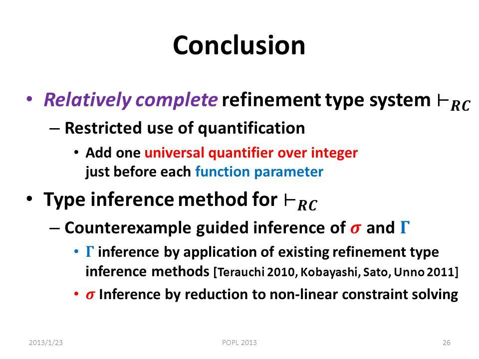 Conclusion 2013/1/23POPL 201326