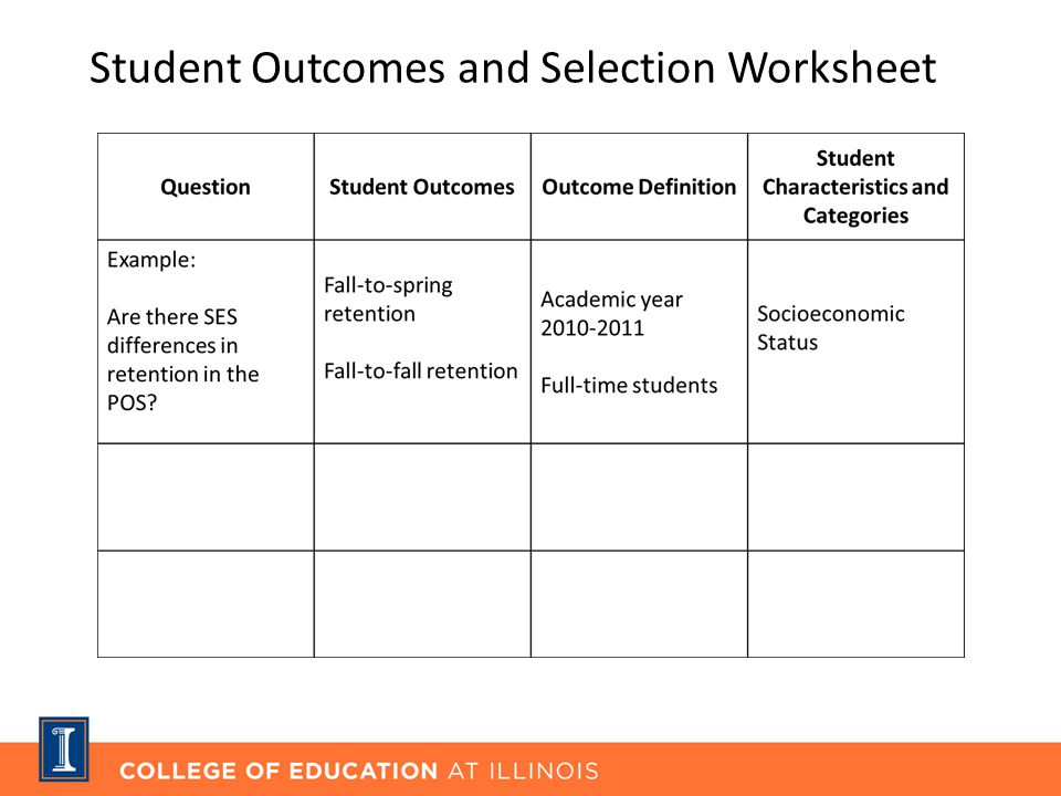 Student Outcomes and Selection Worksheet