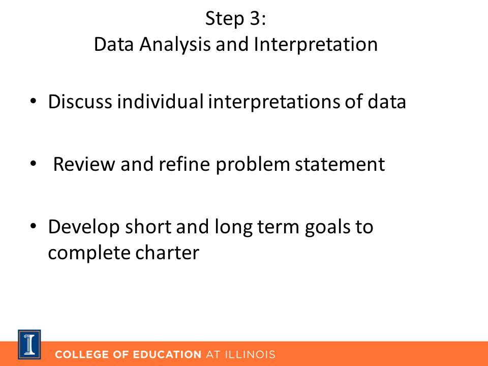 Step 3: Data Analysis and Interpretation Discuss individual interpretations of data Review and refine problem statement Develop short and long term goals to complete charter