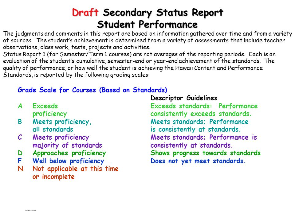 Standards Based Grading and Reporting OCISS 6/30/04 23 Draft Secondary Status Report Student Performance The judgments and comments in this report are