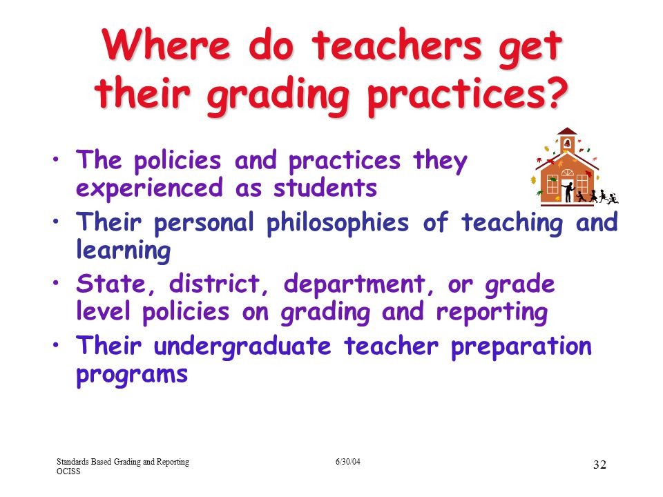 Standards Based Grading and Reporting OCISS 6/30/04 32 Where do teachers get their grading practices? The policies and practices they experienced as s