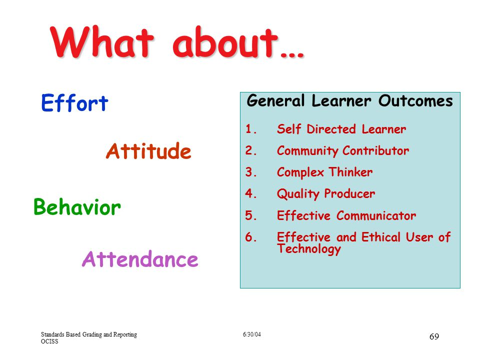 Standards Based Grading and Reporting OCISS 6/30/04 69 What about… Effort Behavior Attitude Attendance General Learner Outcomes 1.Self Directed Learne