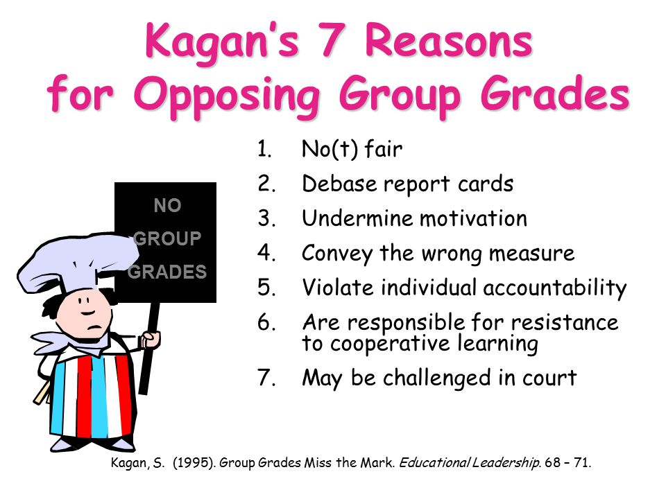 Standards Based Grading and Reporting OCISS 6/30/04 72 Kagan's 7 Reasons for Opposing Group Grades 1.No(t) fair 2.Debase report cards 3.Undermine moti