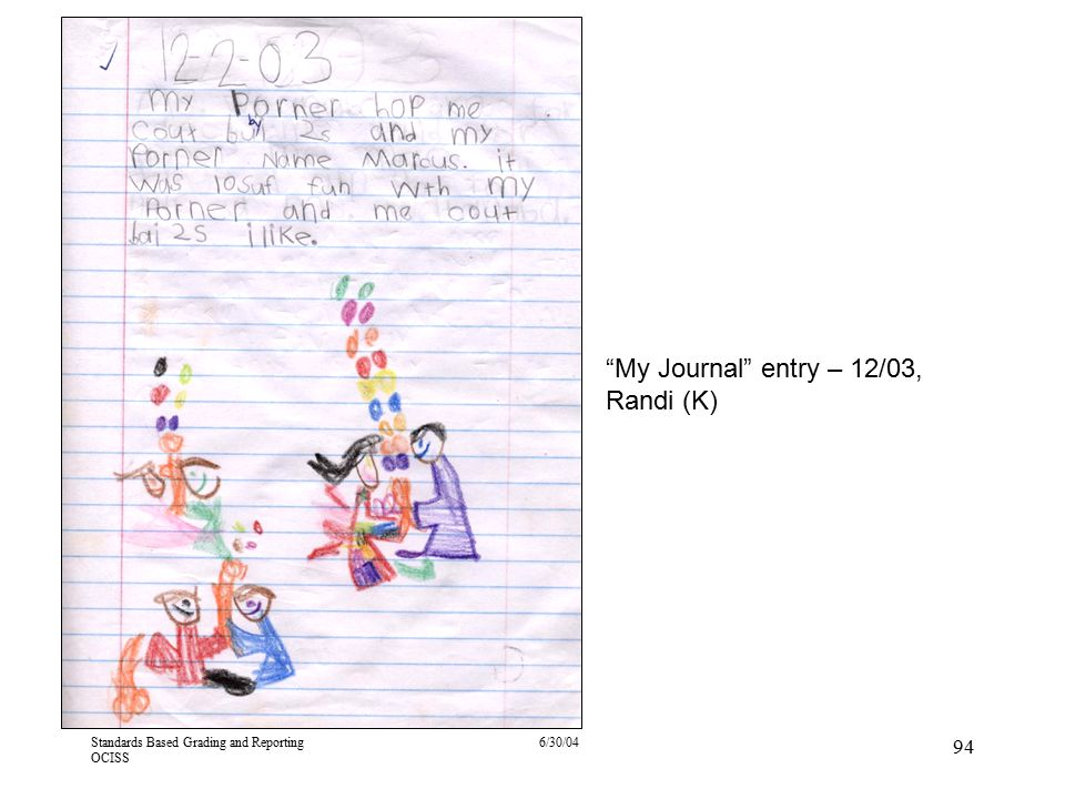 """Standards Based Grading and Reporting OCISS 6/30/04 94 """"My Journal"""" entry – 12/03, Randi (K)"""