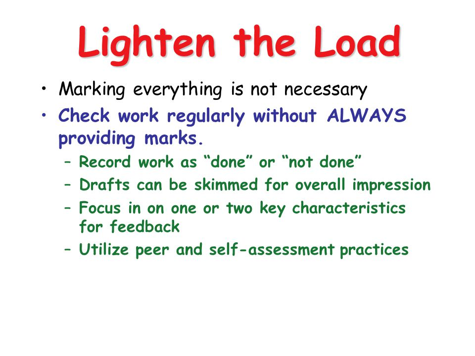 Standards Based Grading and Reporting OCISS 6/30/04 97 Lighten the Load Marking everything is not necessary Check work regularly without ALWAYS provid