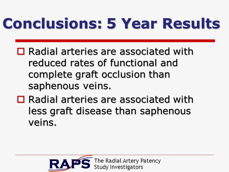 The Radial Artery Patency Study Investigators Conclusions: 5 Year Results  Radial arteries are associated with reduced rates of functional and complete graft occlusion than saphenous veins.