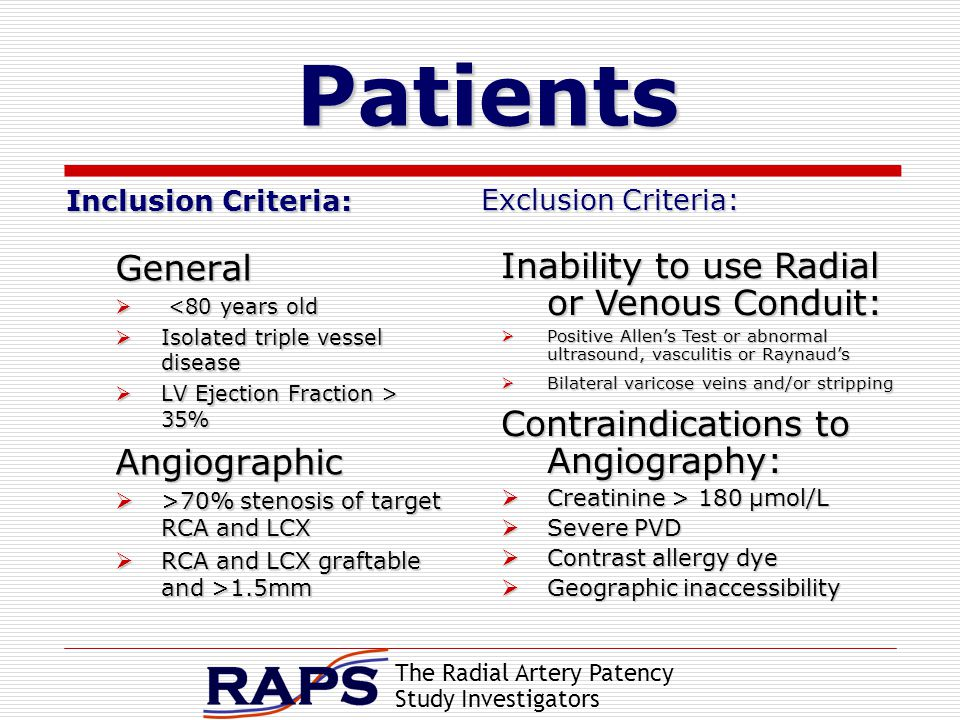 The Radial Artery Patency Study Investigators Patients Inclusion Criteria: General  <80 years old  Isolated triple vessel disease  LV Ejection Fraction > 35% Angiographic  >70% stenosis of target RCA and LCX  RCA and LCX graftable and >1.5mm Exclusion Criteria: Exclusion Criteria: Inability to use Radial or Venous Conduit:  Positive Allen's Test or abnormal ultrasound, vasculitis or Raynaud's  Bilateral varicose veins and/or stripping Contraindications to Angiography:  Creatinine > 180 μmol/L  Severe PVD  Contrast allergy dye  Geographic inaccessibility