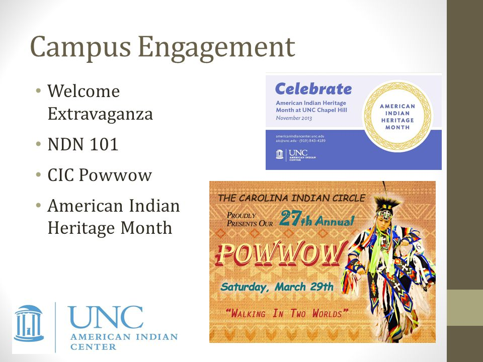 Campus Engagement Welcome Extravaganza NDN 101 CIC Powwow American Indian Heritage Month