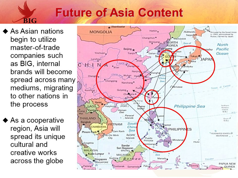 Future of Asia Content  As Asian nations begin to utilize master-of-trade companies such as BIG, internal brands will become spread across many mediums, migrating to other nations in the process  As a cooperative region, Asia will spread its unique cultural and creative works across the globe
