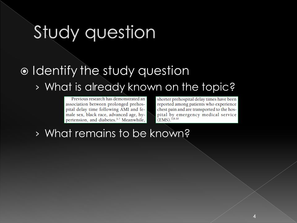  Identify the study question › What is already known on the topic? › What remains to be known? 4