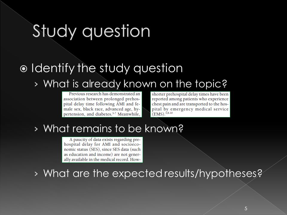  Identify the study question › What is already known on the topic.