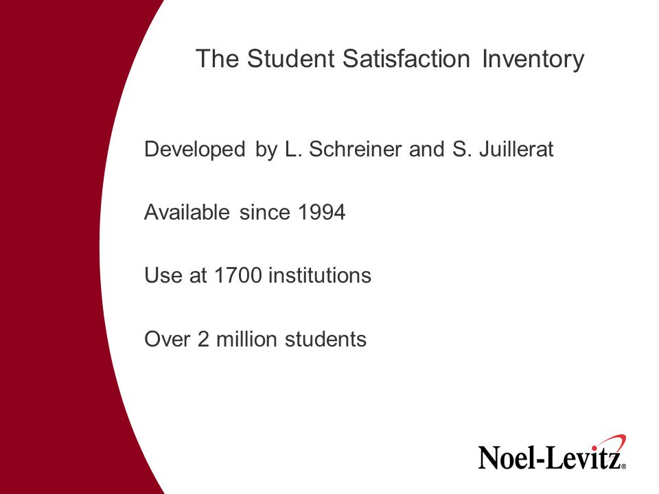 The Student Satisfaction Inventory Developed by L.