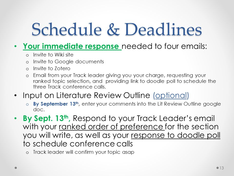 Schedule & Deadlines Your immediate response needed to four emails: o Invite to Wiki site o Invite to Google documents o Invite to Zotero o Email from your Track leader giving you your charge, requesting your ranked topic selection, and providing link to doodle poll to schedule the three Track conference calls.