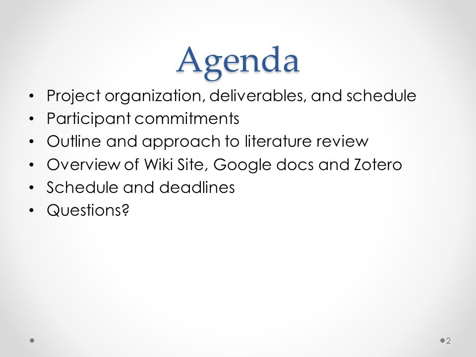 Agenda Project organization, deliverables, and schedule Participant commitments Outline and approach to literature review Overview of Wiki Site, Google docs and Zotero Schedule and deadlines Questions.