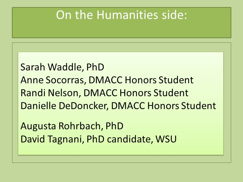 On the Humanities side: Sarah Waddle, PhD Anne Socorras, DMACC Honors Student Randi Nelson, DMACC Honors Student Danielle DeDoncker, DMACC Honors Student Augusta Rohrbach, PhD David Tagnani, PhD candidate, WSU Sarah Waddle, PhD Anne Socorras, DMACC Honors Student Randi Nelson, DMACC Honors Student Danielle DeDoncker, DMACC Honors Student Augusta Rohrbach, PhD David Tagnani, PhD candidate, WSU