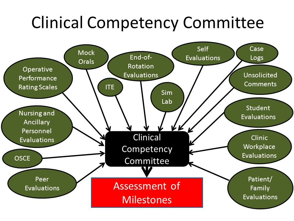Clinical Competency Committee End-of- Rotation Evaluations Peer Evaluations Self Evaluations Case Logs Student Evaluations Patient/ Family Evaluations Operative Performance Rating Scales Nursing and Ancillary Personnel Evaluations Assessment of Milestones Clinic Workplace Evaluations Mock Orals OSCE ITE Sim Lab Unsolicited Comments