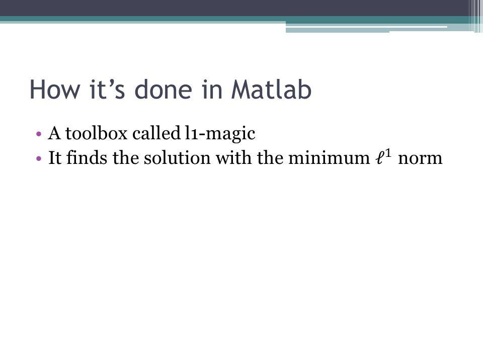 How it's done in Matlab