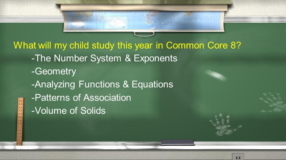 What will my child study this year in Common Core 8.