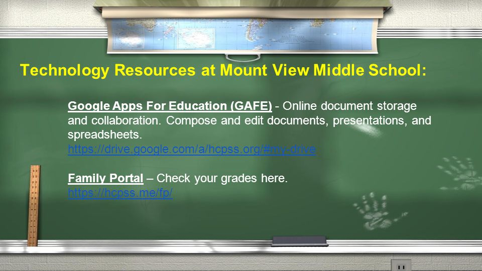 Technology Resources at Mount View Middle School: Google Apps For Education (GAFE) - Online document storage and collaboration.