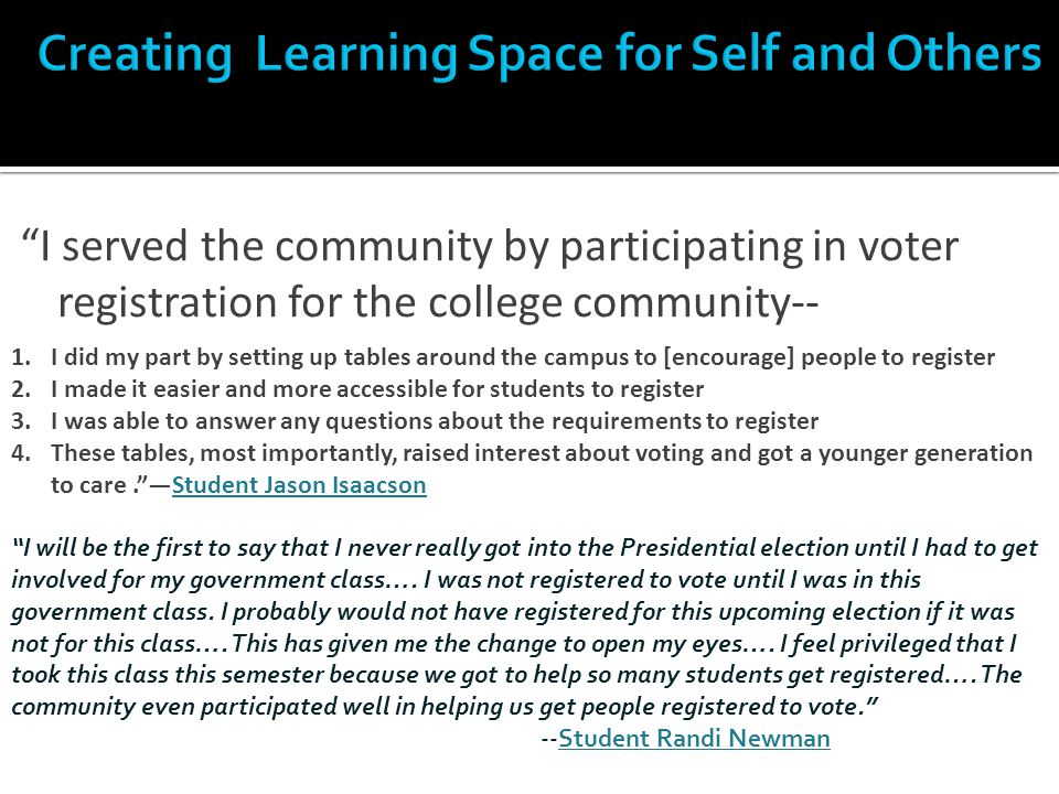 """I served the community by participating in voter registration for the college community-- 1.I did my part by setting up tables around the campus to ["