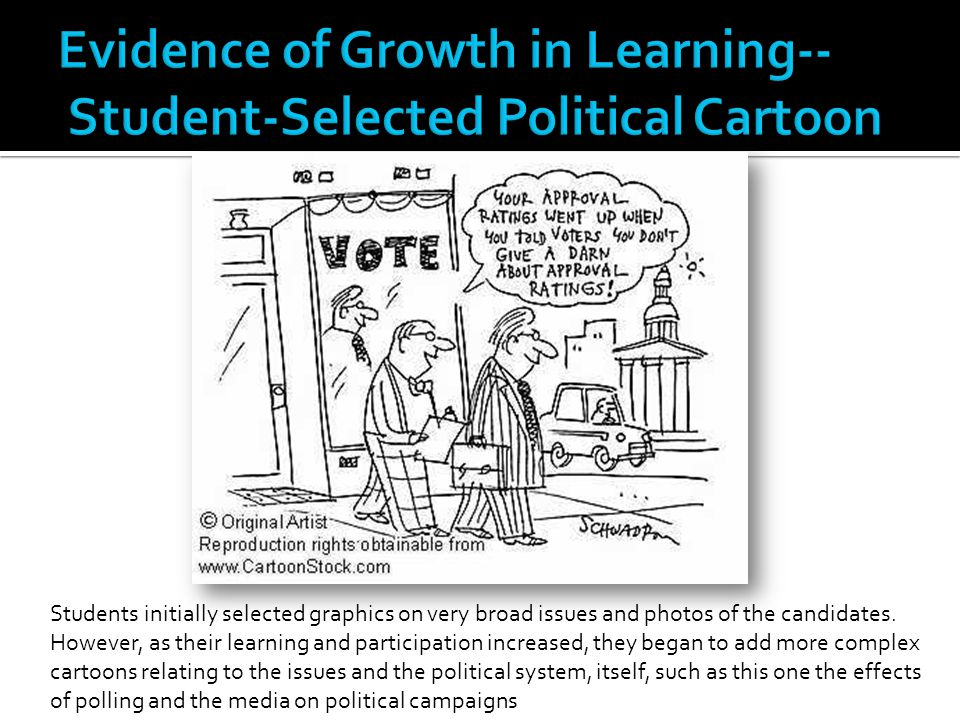 Students initially selected graphics on very broad issues and photos of the candidates. However, as their learning and participation increased, they b