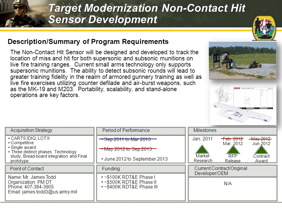 Milestones Current Contract/Original Developer/OEM Period of Performance Funding Acquisition Strategy Point of Contact RFP Contract Release Award The Non-Contact Hit Sensor will be designed and developed to track the location of miss and hit for both supersonic and subsonic munitions on live fire training ranges.