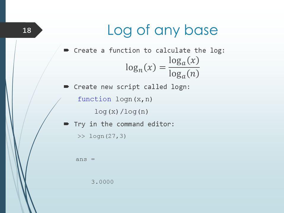 Log of any base 18