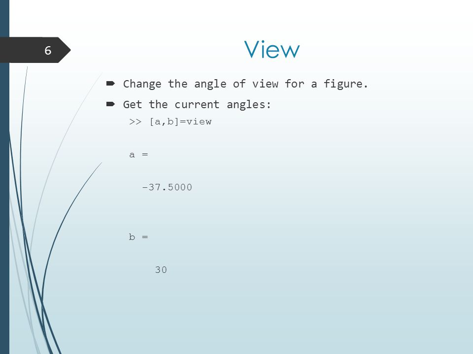 View  Change the angle of view for a figure.