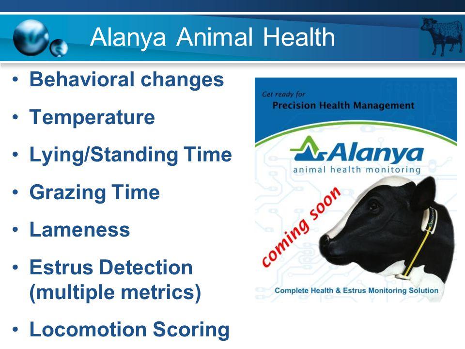 Alanya Animal Health Behavioral changes Temperature Lying/Standing Time Grazing Time Lameness Estrus Detection (multiple metrics) Locomotion Scoring