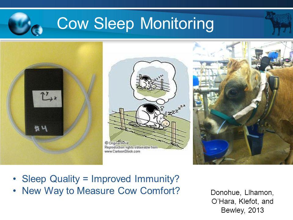 Cow Sleep Monitoring Sleep Quality = Improved Immunity? New Way to Measure Cow Comfort? Donohue, Llhamon, O'Hara, Klefot, and Bewley, 2013