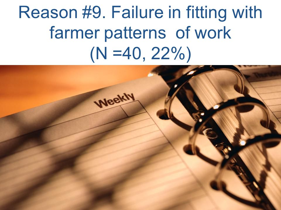 Reason #9. Failure in fitting with farmer patterns of work (N =40, 22%)