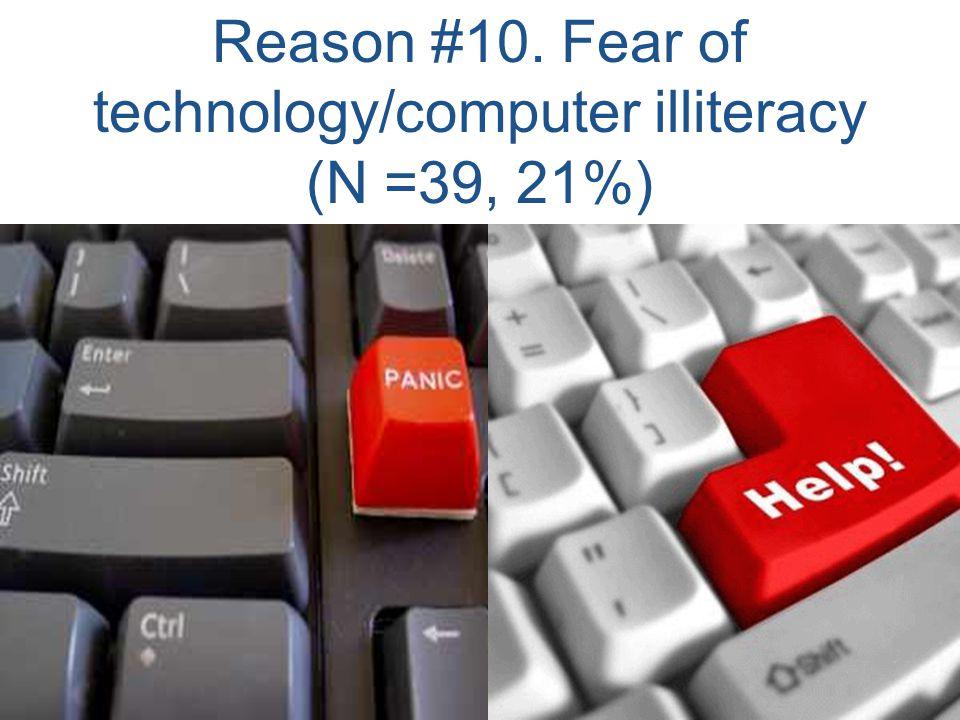 Reason #10. Fear of technology/computer illiteracy (N =39, 21%)