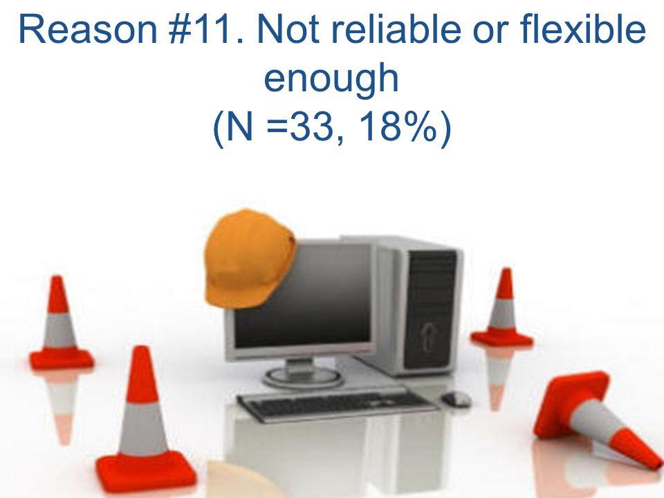 Reason #11. Not reliable or flexible enough (N =33, 18%)