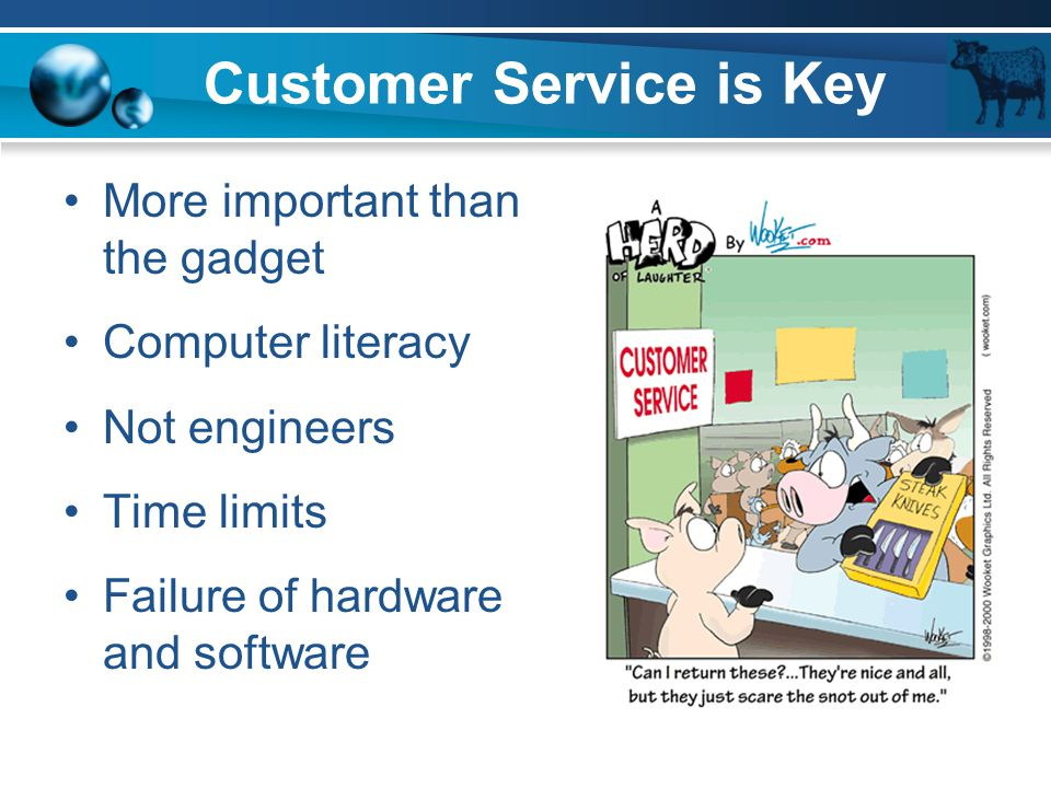Customer Service is Key More important than the gadget Computer literacy Not engineers Time limits Failure of hardware and software