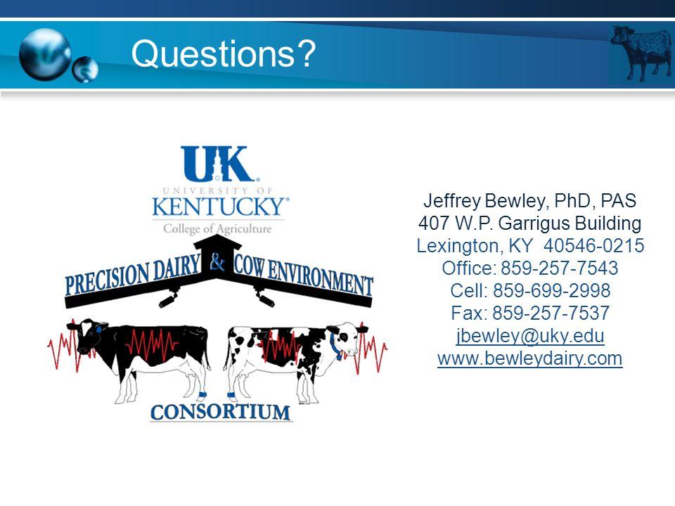 Questions? Jeffrey Bewley, PhD, PAS 407 W.P. Garrigus Building Lexington, KY 40546-0215 Office: 859-257-7543 Cell: 859-699-2998 Fax: 859-257-7537 jbew