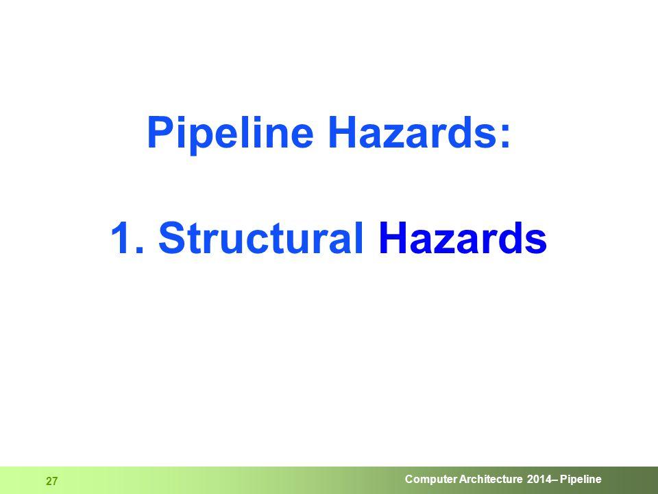 Computer Architecture 2014– Pipeline 27 Pipeline Hazards: 1. Structural Hazards
