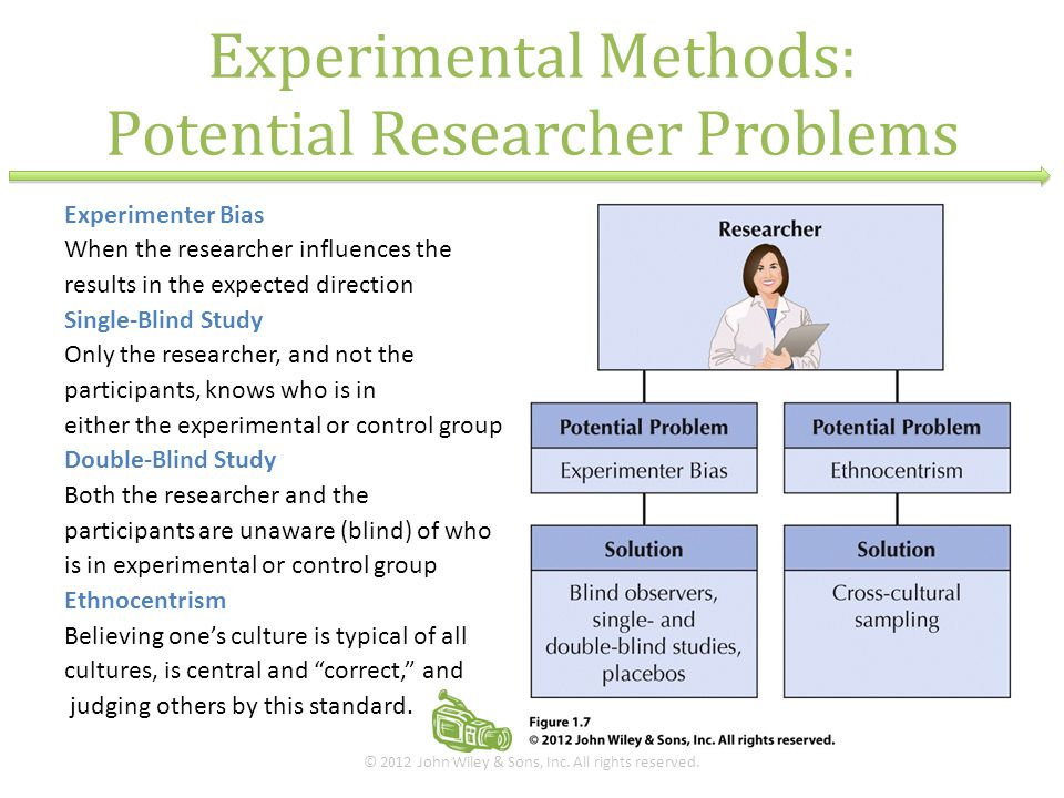 Experimental Methods: Potential Researcher Problems Experimenter Bias When the researcher influences the results in the expected direction Single-Blin