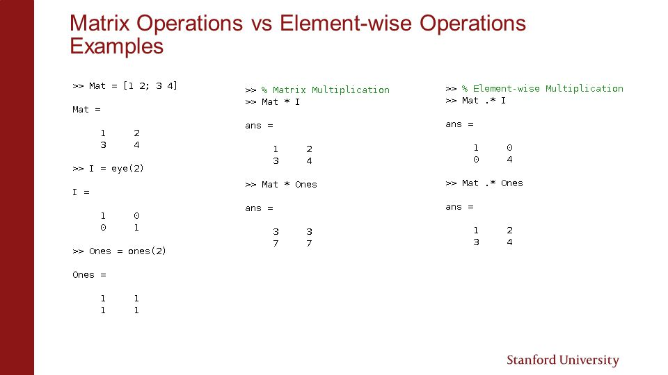 Matrix Operations vs Element-wise Operations Examples
