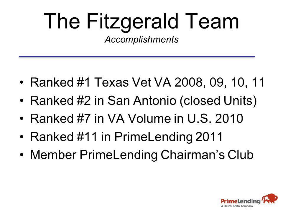 The Fitzgerald Team Accomplishments Ranked #1 Texas Vet VA 2008, 09, 10, 11 Ranked #2 in San Antonio (closed Units) Ranked #7 in VA Volume in U.S.