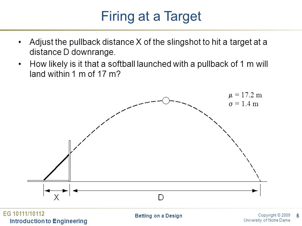 EG 10111/10112 Introduction to Engineering Copyright © 2009 University of Notre Dame Firing at a Target Adjust the pullback distance X of the slingshot to hit a target at a distance D downrange.